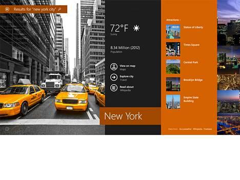 Windows 8.1 uudistaa käyttöliittymää. Siinä haku tuottaa tuloksia sekä omalta koneelta että netistä.