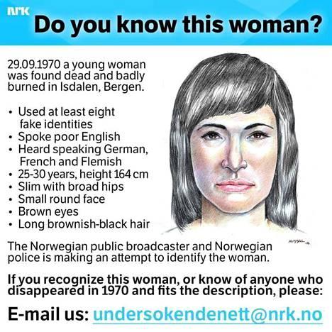 Norjan yleisradioyhtiö ja Norjan poliisi ovat etsineet tietoa naisesta tällä ilmoituksella.