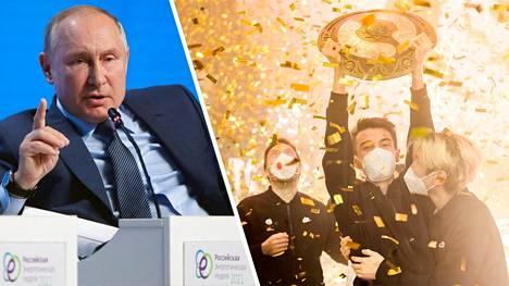 Vladimir Putin onnittelit 15,7 miljoonaa euroa voittanutta Team Spirit -joukkuetta maailmanmestaruudesta.
