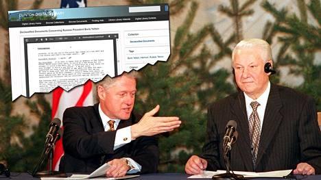 Clintonin presidentillinen kirjasto julkaisi perjantaina Bill Clintonin ja Boris Jeltsinin keskustelut vuosilta 1993–1999.