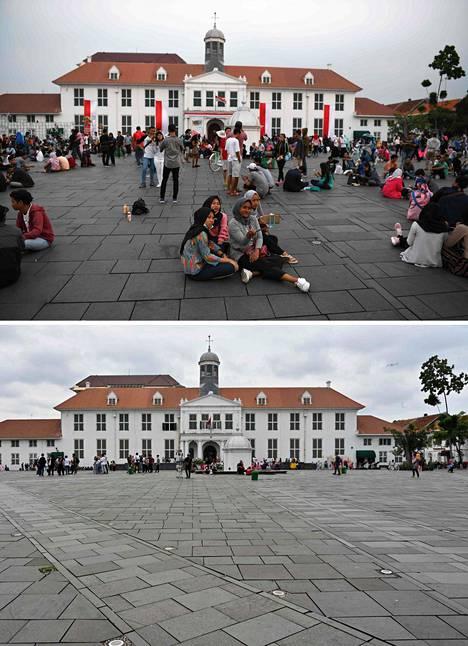 Jakartan historiallinen museo sijaitsee vanhassakaupungissa eli Kota Tuan alueella. Elokuussa 2018 museon edustalla riitti yhä porukkaa, mutta maaliskuussa 2020 museon edustalla on autiota.