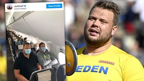 Daniel Ståhl (vas. ja isossa kuvassa) ja Simon Pettersson täyttäisivät helposti vähän leveämmänkin penkkirivin kuin sveitsiläisyhtiön lentokoneessa oli kaksikolle tarjolla.