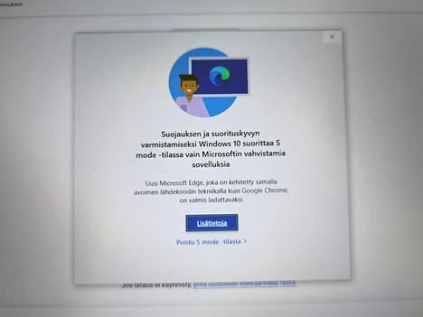 Surfaceen sovelluksia muualta kuin Microsoftin kaupasta asennettaessa eteen tulee tämä ilmoitus. Asennukset saa vapautettua yhdellä klikkauksella.