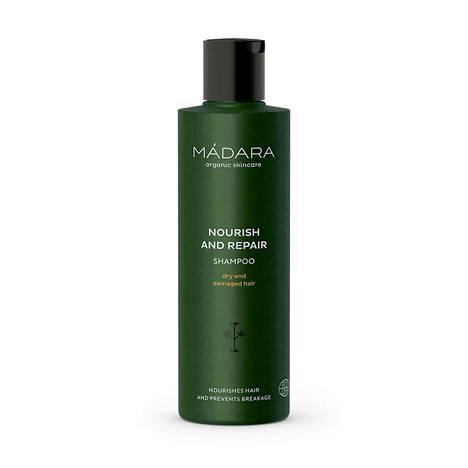 Mádaran Nourish And Repair -sampoo sopii kuiville ja vaurioituneille hiuksille, 15,90 € / 200 ml.
