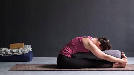 Joogassa voidaan käyttää apuvälineinä muun muassa vilttejä, tyynyjä ja joogatiiliä.
