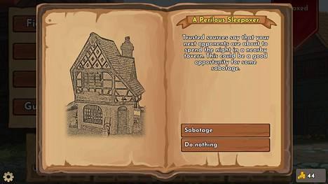 Taisteluiden välissä pelaaja pääsee tekemään valintoja satunnaisissa tilanteissa.