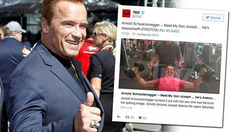 Arnold Schwarzenegger treenaa aviottoman lapsensa Joseph Baenan kanssa.