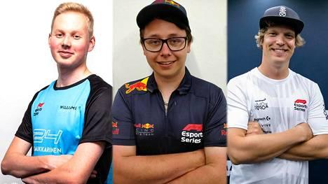 Tino Naukkarinen (vasen), Joni Törmälä (keskellä) ja Olli Pahkala kisasivat F1 Esports -sarjan toisella kaudella.