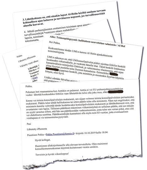IS sai käsiinsä ulkoministeriön sisäistä kirjeenvaihtoa al-Holin suomalaislasten kotiuttamisoperaatiosta.