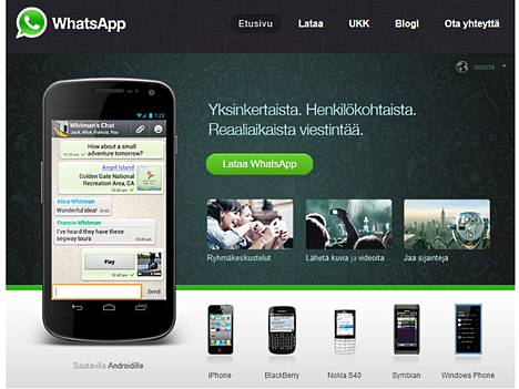 Whatsapp on nuorten suosiossa oleva pikaviestin.