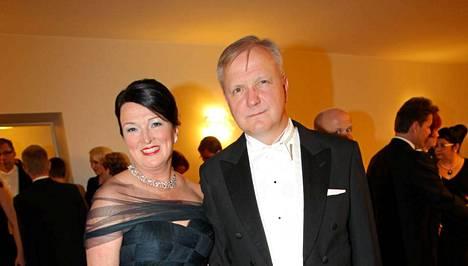 Merja ja Olli Rehn itsenäisyyspäivän vastaanotolla.