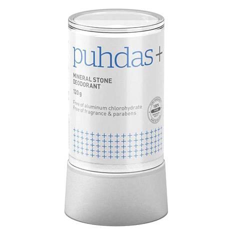 Mineraalikivestä irtoaa iholle huomaamaton suolapinta, jonka luonnonsuolat ja niiden hapan PH-arvo estävät hajubakteerien kasvun. 12,90 €, Puhdas+.
