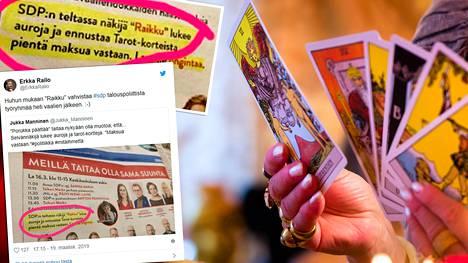 """""""Raikku lukee auroja ja ennustaa Tarot-korteista pientä maksua vastaan, lukee Pirkanmaan SDP:n mainoksessa. Kuvan taustan kortit ovat kuvituskuva."""
