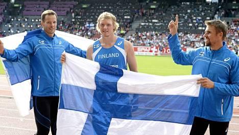 Tero Pitkämäki, Lassi Etelätalo ja Antti Ruuskanen edustivat Suomea EM-Zürichissä. Jos kaikki menee nappiin, Pekingin MM-kisoissa 2015 heittää viisi suomalaista keihäsjättiä.
