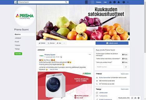 Viestiä levittävä huijaussivu on väärennetty versio Prisman Facebook-sivuista. Kuvakaappaus Facebookista.