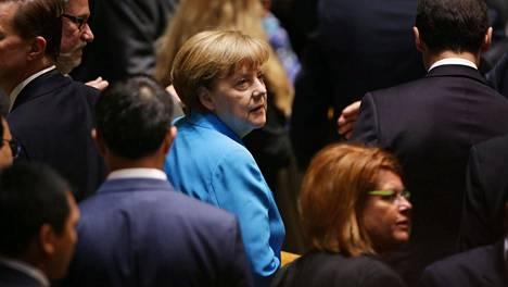 Angela Merkel jonotti kuulemaan paavin puhetta YK:ssa syyskuun lopulla.