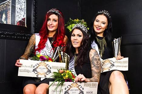 Miss Rock -voittajat: ensimmäinen perintöprinsessa Sofia Mäkkylä, Miss Rock 2015 Jessika Elo ja toinen perintöprinsessa Sari Mehtonen.