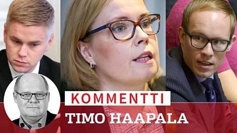 Laura Räty, Lasse Männistö (oik.) ja Joonas Turunen (vas.) ovat pienessä piirissä.