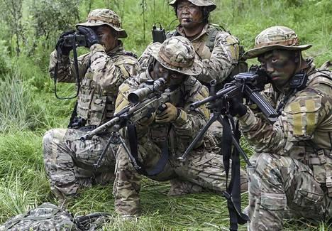 Eteläkorealaisia sotilaita harjoituksessa Yangyangissa elokuussa.