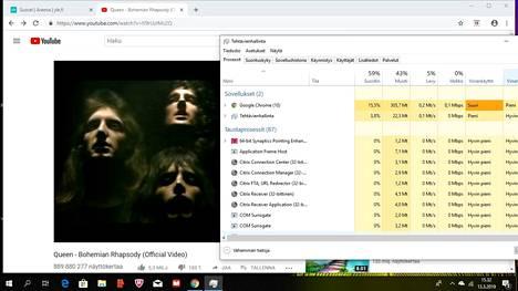 Windowsin Tehtävienhallinta osaa nykyisin näyttää, miten sähkösyöppöjä eri sovellukset ovat. Kuvakaappaus Windowsista.