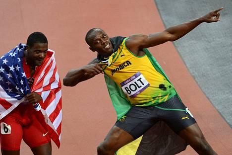 Justin Gatlin juoksi pronssia Lontoon olympialaisissa 2012. Usain Bolt tuuletti toista peräkkäistä olympiakultaansa.