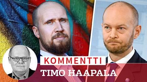 Vihreiden puheenjohtaja Touko Aalto ja sinisten puheenjohtaja Sampo Terho.