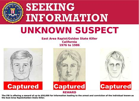 Poliisin julkaisemat piirrokset Itäisen alueen raiskaajana, Alkuperäisenä yövaanijana ja Golden State Killerinä tunnetusta rikollisesta.