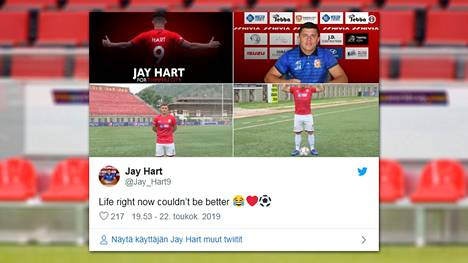 Jay Hart iloitsi Twitterissä uudesta mahdollisuudestaan.