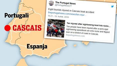 Useita suomalaisia loukkaantunut veneonnettomuudessa Portugalissa