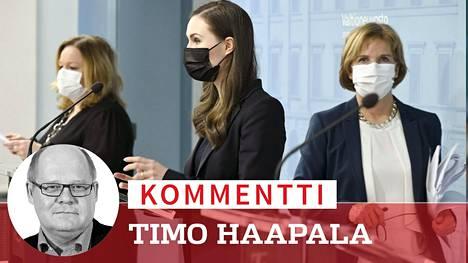 Muut ministerit alkavat saada tarpeekseen, että pääministeri Sanna Marin (sd) ja Krista Kiuru (sd) sopivat asiat kahdestaan, ja muut lukevat linjaukset lehdistä. Rkp:n Anna-Maja Henriksonille (kuvassa oik.) liikkumisrajoituspaketti ei kelvannut.