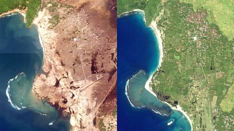 Satelliittikuvat näyttävät tsunamin tekemän tuhon. Kuva Acehin rannikkolta Sumatran pohjoisosassa.