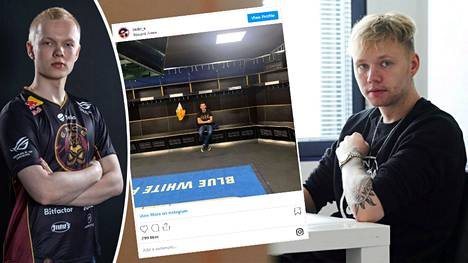 Jere Salon (vasen reuna) ja Miikka Kempin joukkue harjoitteli Sveitsissä. Asian paljasti joukkueeseen yhdistetty valmentaja Sergei Bezhanov, joka jakoi Instagramiin kuvan EV Zug -joukkueen pukukopista.