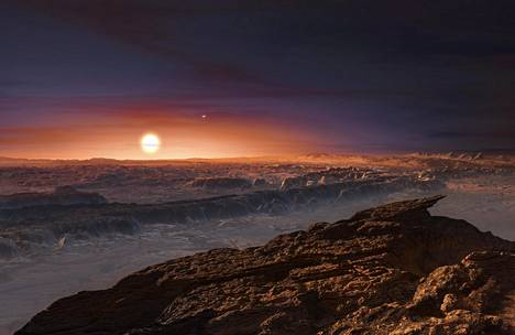 """Euroopan avaruusjärjestön ESA:n julkaisema """"taiteilijan näkemys"""" siitä, miltä Proxima Centauria kiertävällä planeetalla voisi näyttää."""