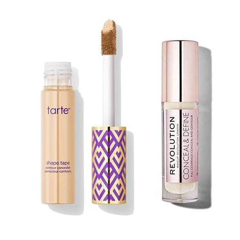 Tarte shape tape contour concealer 26 €, mm. Tarte.com, Makeup Revolution Conceal and Define Concealer Peite- ja korostussävy 5,98 €, mm. Prisma.
