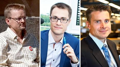 Timo Rothovius (vas.), Juhana Brotherus ja Jan von Gerich kertovat, että korkotason lasku on historiallista.