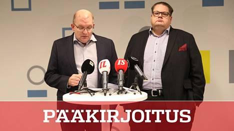 Sopimus katkolla, edessä uusi tilanne. Teollisuusliiton puheenjohtaja Riku Aalto ja varapuheenjohtaja Turja Lehtonen allekirjoittivat nyt päättyvän sopimuksen tammikuussa 2020. Teknologiateollisuus ry. ei enää tee enää työehtosopimuksia.