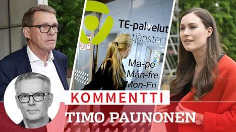 Valtiovarainministeri Matti Vanhasella (kesk) ja pääministeri Sanna Marinilla (sd) on edessä vaikeita ratkaisuja työllisyyden parantamiseksi.
