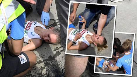 Minna Lamminen menetti tajuntansa helteessä juostun puolimaratonin maalissa.
