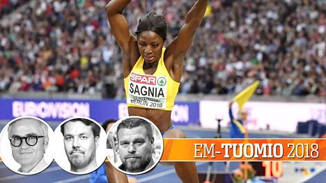 Ruotsin Khaddi Sagnia oli lopulta pituusfinaalin kuudes tuloksella 6,47. Kisapöksyistä ei tullut ainakaan turhaa ilmanvastusta.