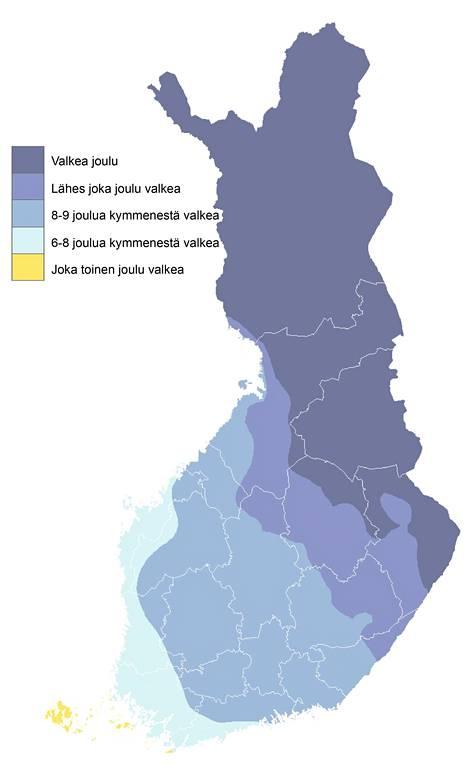 Ilmatieteen laitoksen kartta näyttää valkean joulun todennäköisyyden. Tieto perustuu vuosien 1981-2010 tilastoituihin havaintoihin.