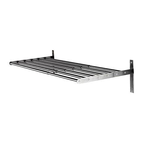 Ikean Grundthal-teräshylly on edullinen ja toimiva keittiön avohyllynä. Hyllylle saa erilaisia ripustuskoukkuja keittiötarvikkeille. Leveys 80 cm, hinta 19,95 euroa