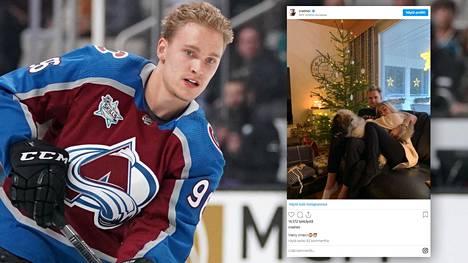 Suomalaishyökkäjä Mikko Rantanen toivotti seuraajilleen hyvää joulua tunnelmallisella kuvalla.