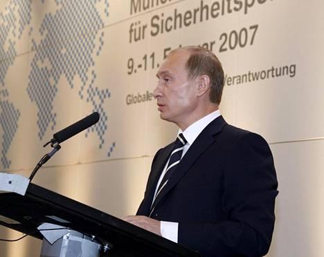 Presidentti Vladimir Putinin piti helmikuussa 2007 Münchenin turvallisuuskokouksessa puheen, jonka merkitys ymmärrettiin lännessä vasta paljon myöhemmin.