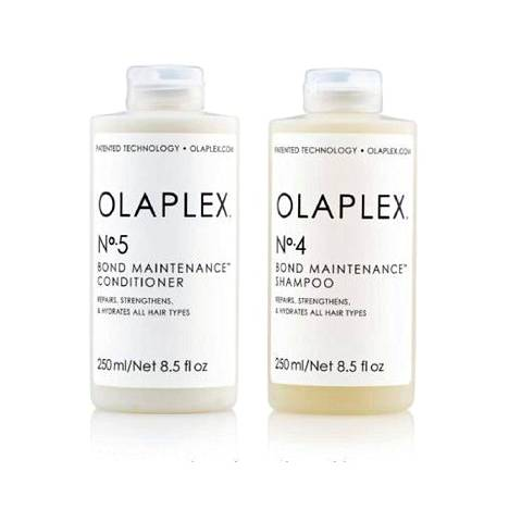 Olaplexin N:o 4 -shampoo ja N:o 5 -hoitoaine ylläpitävät tehokkaasti kampaajan tekemää hoitoa, 31,90 €/kpl.