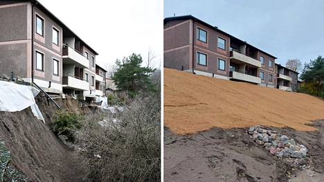 Tuurnankadulla sijaitseva rivitalo maansortuman jälkeen ja sortuman korjaamisen jälkeen.