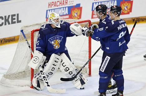 Torstaina Venäjän nurin torjunut Jussi Olkinuora saattaa olla Leijonien ykkösvahti MM-kisoissa. Olkinuora kuului kahden vuoden takaiseen maailmanmestarijoukkueeseen.