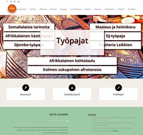 Kuvakaappaus afrikkalaisten ja afrikkalais-eurooppalaisten yhdistyksen AFAESin verkkosivuista.