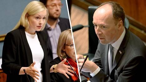 Maria Ohisalo ja Jussi Halla-Aho eduskunnan kyselytunnilla.