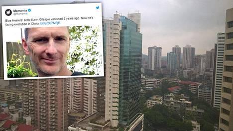 Australialainen Karm Gilespie, 56, on viettänyt yli kuusi vuotta vankilassa Kiinan Guangzhoussa eli Kantonissa.