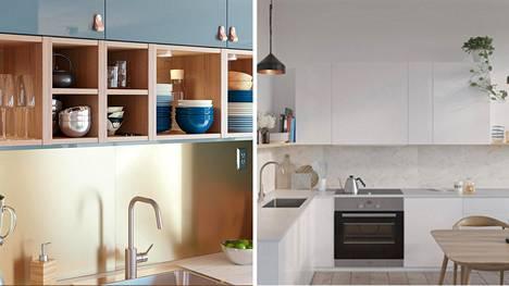 Välitilalevy freesaa keittiön. Väreissä ja materiaaleissa riittää valinnanvaraa. Vasemmalla Ikean Lyselik-seinälevy, oikealla K-Raudan Fibo-välitilalevy.